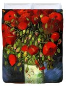 Vase With Red Poppies Duvet Cover