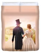 Victorian Couple Walking Towards A Country Estate Duvet Cover