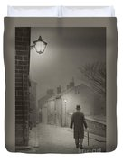 Victorian Or Edwardian Gentleman Walking Down A Cobbled Road At  Duvet Cover