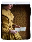 Victorian Woman Reading A Love Letter Duvet Cover