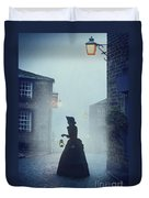 Victorian Woman With An Oil Lamp At Night On A Cobbled Street Duvet Cover