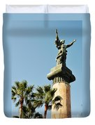 Victory Statue In Puerto Banus Duvet Cover