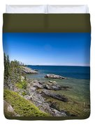 View Of Rock Harbor And Lake Superior Isle Royale National Park Duvet Cover