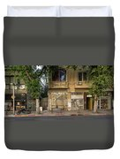 View Of Shops On The Street, Allenby Duvet Cover