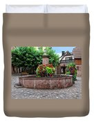 Village Fountain In Provence Duvet Cover