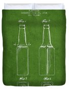 Vintage Beer Bottle Patent Drawing From 1934 - Green Duvet Cover