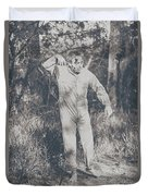 Vintage Black And White Horror Zombie Duvet Cover