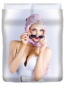 Vintage Blond Beauty In Pinup Fashion Accessories Duvet Cover