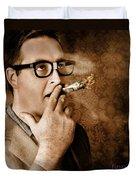 Vintage Business Man Smoking Money In Success Duvet Cover
