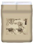 Vintage Colt Revolver Drawing  Duvet Cover
