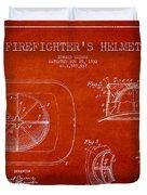 Vintage Firefighter Helmet Patent Drawing From 1932 Duvet Cover