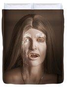 Vintage Halloween Portrait. Gothic Vampire Girl Duvet Cover
