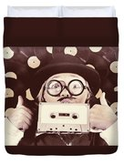 Vintage Music Woman Giving Thumb Up To Retro Songs Duvet Cover