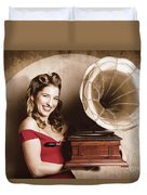 Vintage Pin-up Girl Listening To Record Player Duvet Cover