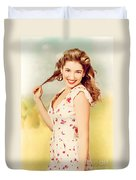Vintage Pinup Woman With Pretty Make-up And Hair Duvet Cover
