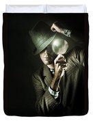 Vintage Undercover Spy On Dark Background Duvet Cover