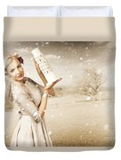 Vintage Woman Dreaming Of A Europe Travel Escape Duvet Cover