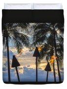 Waikiki Sunset Torches Duvet Cover