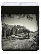 walking in the Alps - bw Duvet Cover