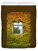 Wall Overgrown With Fall Colored Vine And Ivy Duvet Cover