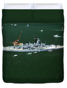 War Ship In New York Harbor, New York Duvet Cover