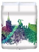 Warsaw City Skyline Duvet Cover