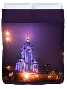 Warsaw Poland Downtown Skyline At Night Duvet Cover