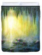 Water Lilies At Sunrise Duvet Cover