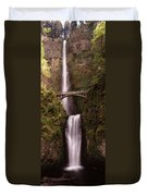 Waterfall In A Forest, Multnomah Falls Duvet Cover