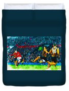 Wayne Rooney Of Manchester United Scores Their Second Goal Duvet Cover