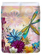 Whimsical Floral Flowers Dragonfly Art Colorful Uplifting Painting By Megan Duncanson Duvet Cover