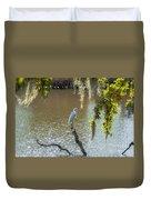 White Heron In Magnolia Cemetery Duvet Cover