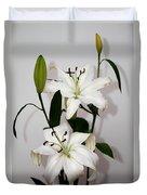 White Lily Spray Duvet Cover
