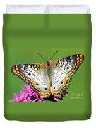 White Peacock Butterfly Anartia Duvet Cover