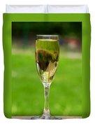 White Wine On Patio Ledge Duvet Cover
