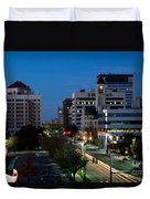 Wichita Skyline At Dusk From Waterwalk Duvet Cover