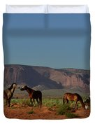 Wild Horses In Monument Valley Duvet Cover