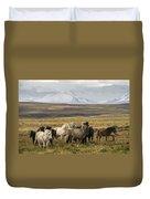 Wild Icelandic Horses Duvet Cover