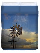 Windmill And Clouds Duvet Cover