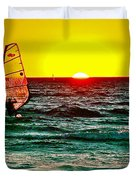 Windsurfer At Sunset On Lake Michigan From Empire-michigan  Duvet Cover