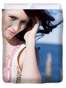 Windy Hair Woman Duvet Cover