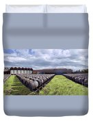 Winery Wine Barrels Outside Clouds Panorama Duvet Cover