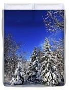 Winter Forest Under Snow Duvet Cover