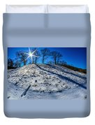 Winter Scinery In The Mountains With Bllue Sky And Sunshine Duvet Cover