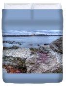 Winter Sunset On The Lake Duvet Cover