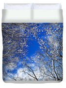 Winter Trees And Blue Sky Duvet Cover