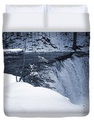 Winter Waterfall Snow Duvet Cover
