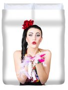 Woman Blowing Feathers Duvet Cover