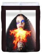 Woman Breathing Fire From Mouth Duvet Cover