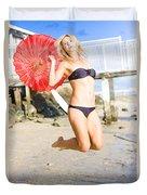 Woman In Bikini Jumping Duvet Cover